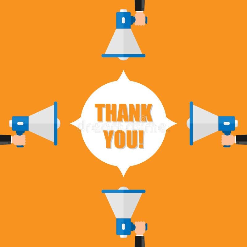 Wektorowego płaskiego projekta biznesowy ilustracyjny pojęcie Dziękuje ciebie dla strony internetowej i promo cyfrowy marketingow ilustracji