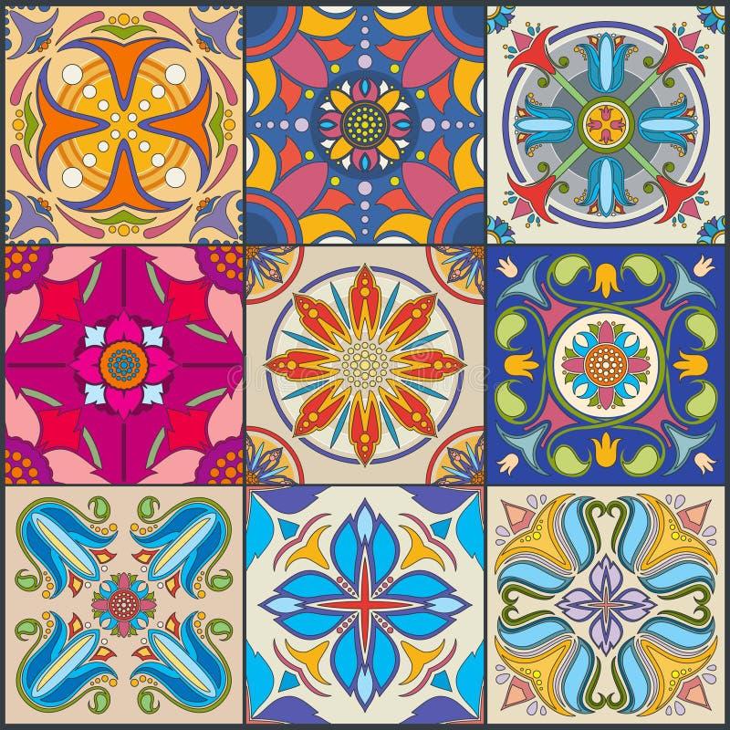 Wektorowego patchworku ściany płytki bezszwowy wzór, ceramiczne meksykanin płytki ilustracji