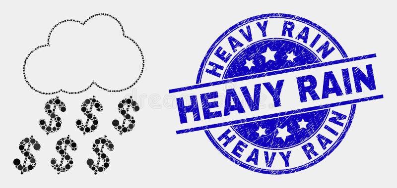 Wektorowego piksla Podeszczowej chmury ikony i cierpienia Heavy Rain znaczka Dolarowa foka ilustracja wektor