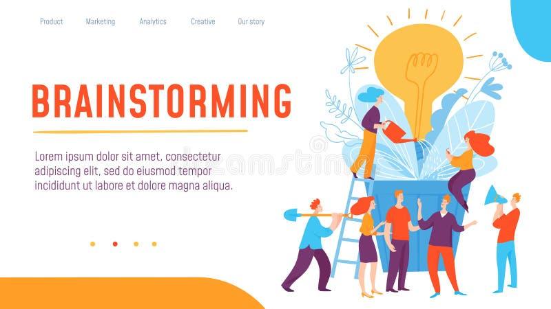 Wektorowego pojęcia kreatywnie brainstorming i myśląca biznesowa ilustracja z pracujący ludzi royalty ilustracja