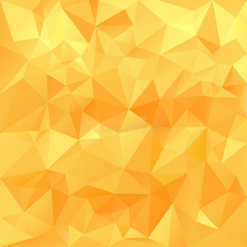 Wektorowego poligonalnego tła trójgraniasty projekt w miodowych pogodnych kolorach - kolor żółty, pomarańcze ilustracji