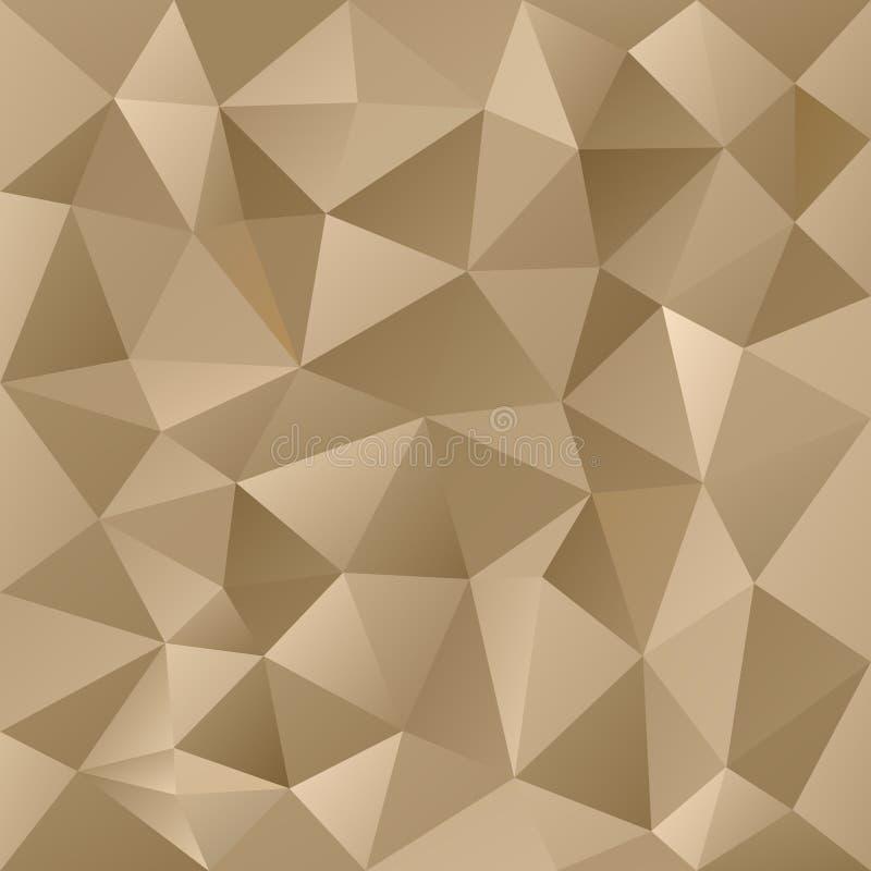 Wektorowego poligonalnego tło trójgraniastego projekta złocisty metal barwi - beż royalty ilustracja