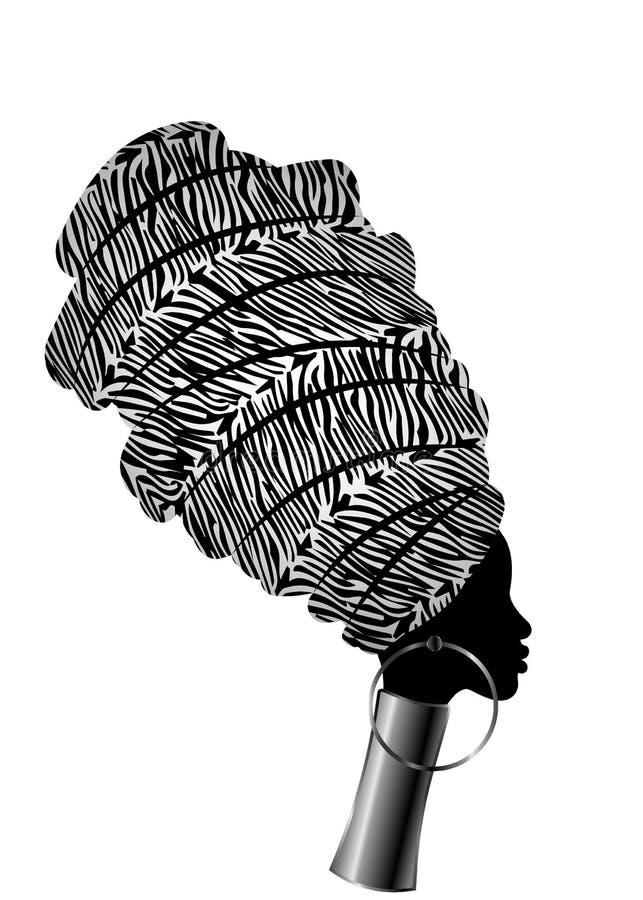 Wektorowego portreta piękna Afrykańska kobieta w tradycyjnym turbanie, Kente głowy opakunek, dashiki druk, czarne afro kobiety we ilustracja wektor