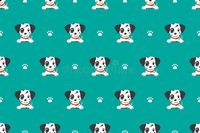 Wektorowego postać z kreskówki dalmatian psa bezszwowy wzór ilustracji