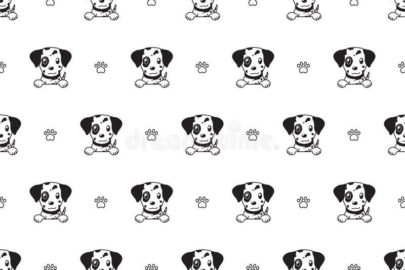Wektorowego postać z kreskówki dalmatian psa bezszwowy wzór royalty ilustracja
