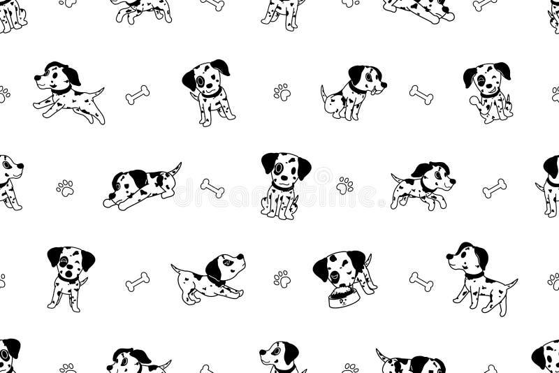 Wektorowego posta? z kresk?wki dalmatian psa bezszwowy wz?r royalty ilustracja