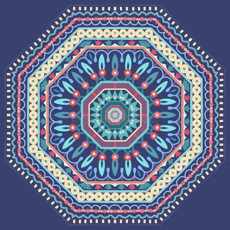 Wektorowego projekta kwiecisty round ornament Dekoracyjna wzór rama na błękitnym tle ilustracja wektor