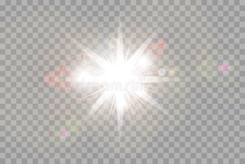 Wektorowego przejrzystego światło słoneczne obiektywu specjalnego błysku lekki skutek frontowy słońce obiektywu błysk ilustracji