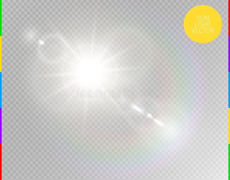 Wektorowego przejrzystego światło słoneczne obiektywu specjalnego racy lekki skutek Odosobneni słońce błysku promienie i światło  ilustracji