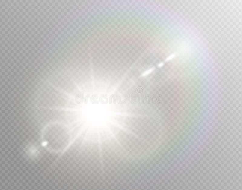 Wektorowego przejrzystego światło słoneczne obiektywu specjalnego racy lekki skutek Odosobniony słońce błysku promieni światło re ilustracji