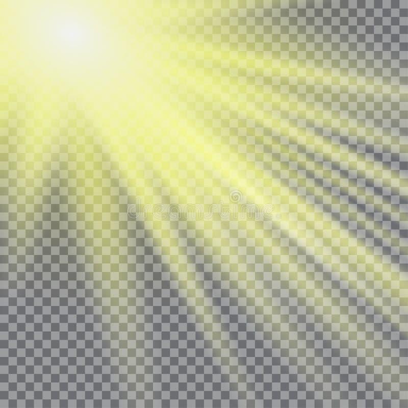 Wektorowego przejrzystego światło słoneczne obiektywu specjalnego racy lekki skutek Słońce błysk z promieniami i światłem reflekt fotografia stock