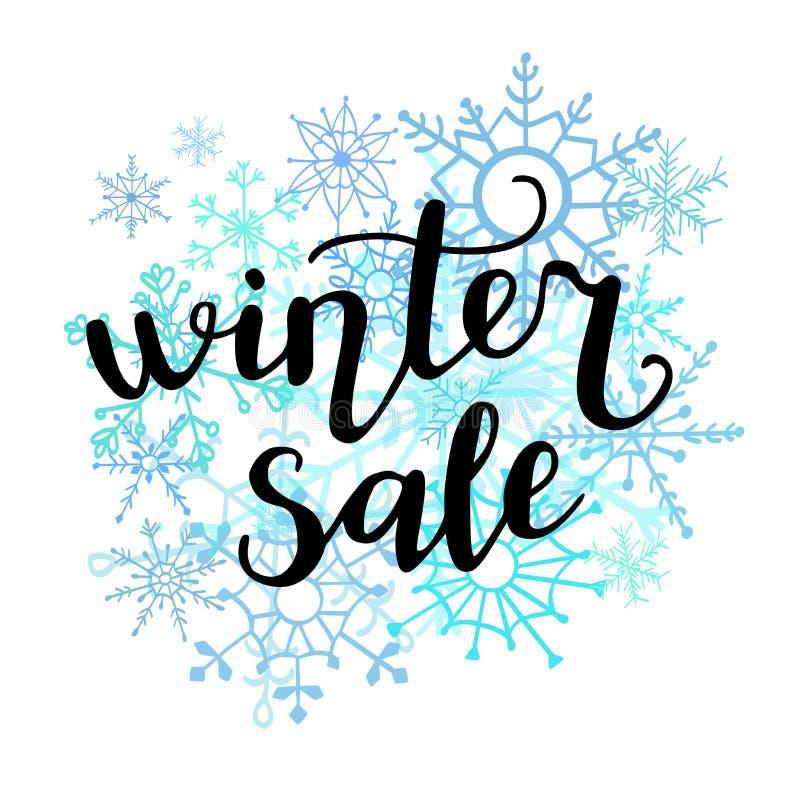 Wektorowego ręki literowania zimy ilustracyjna sprzedaż z doodle płatkami śniegu ilustracji