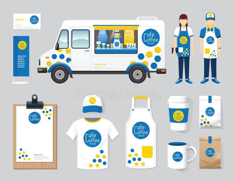 Wektorowego restauracyjnego cukiernianego projekta jedzenia ciężarówki ustalony uliczny sklep, ulotka, royalty ilustracja