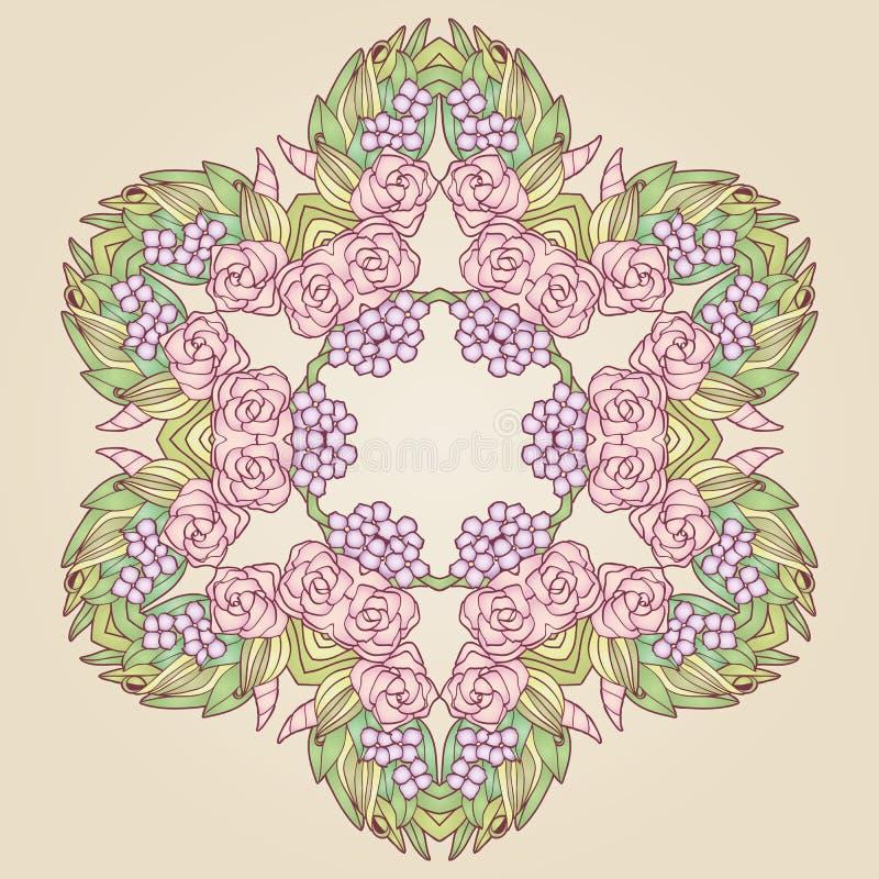 Wektorowego rocznik sztuki nouveau róży kwiecista rama royalty ilustracja