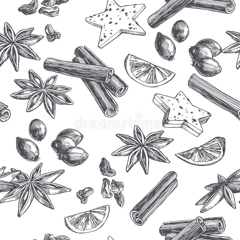 Wektorowego rocznika bezszwowy wzór z pikantność i cukierkami odizolowywającymi na bielu Wręcza patroszoną ilustrację cynamon, ka ilustracji
