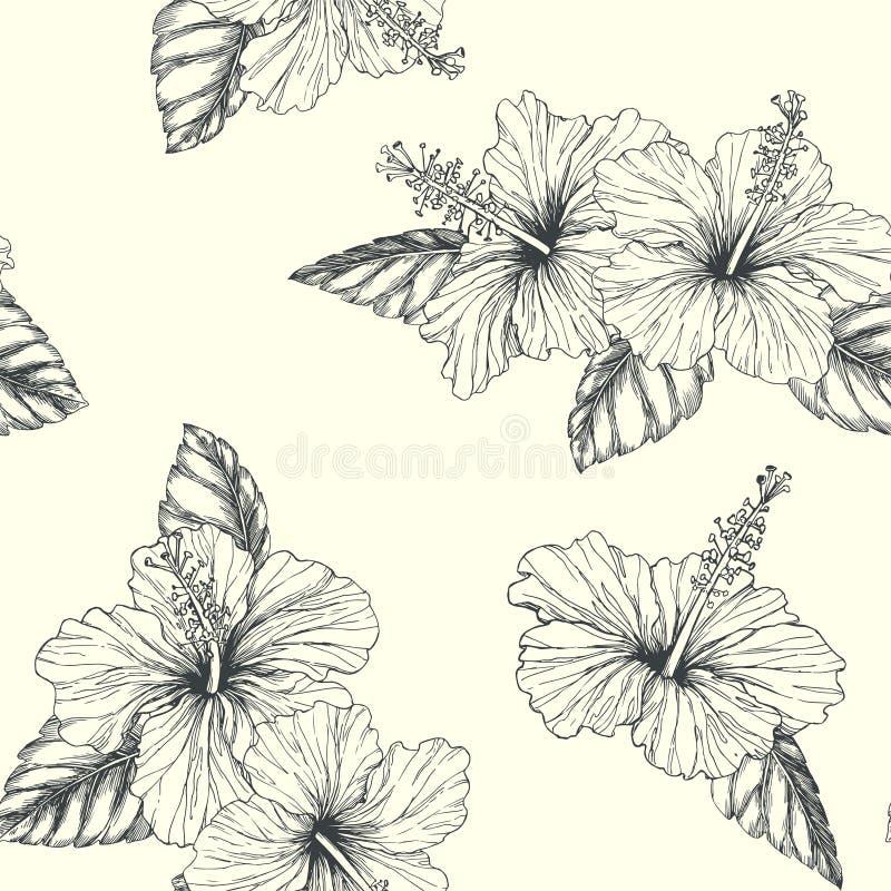 Wektorowego rocznika bezszwowy wzór z tropikalnymi kwiatami odizolowywał o royalty ilustracja