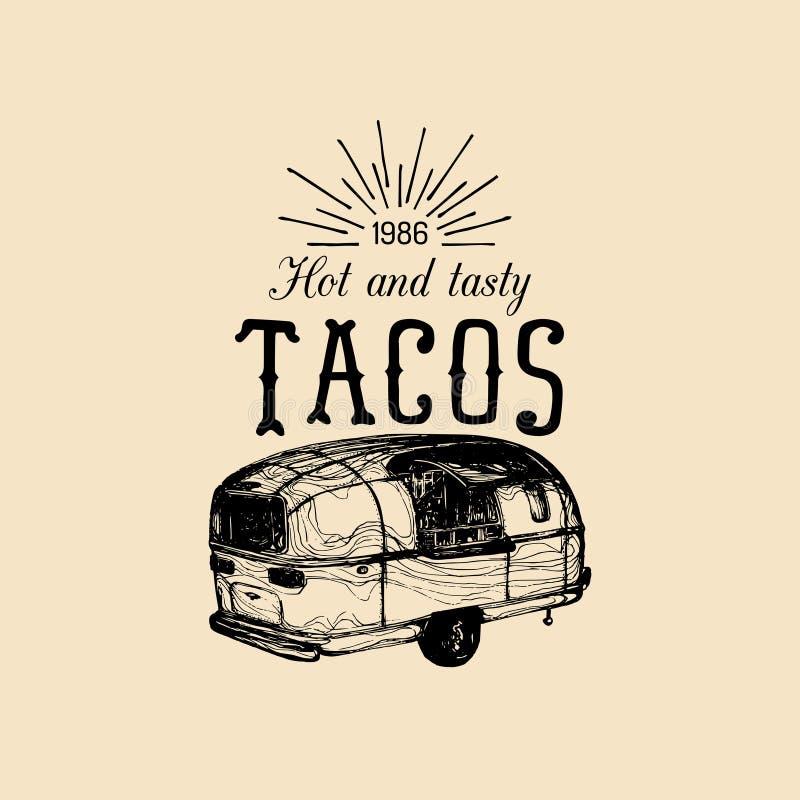 Wektorowego rocznika jedzenia ciężarówki meksykański logo Tacos ikona Retro ręka rysująca modniś przekąski samochodu uliczna ilus royalty ilustracja
