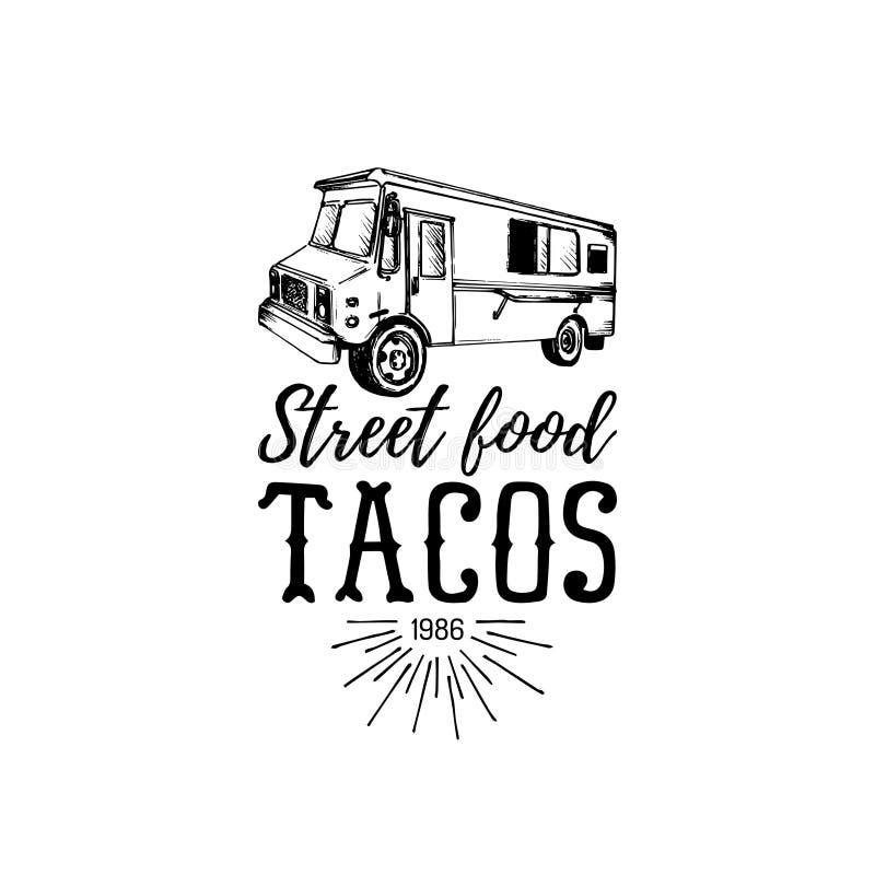 Wektorowego rocznika jedzenia ciężarówki meksykański logo Tacos ikona Retro ręka rysująca modniś przekąski samochodu uliczna ilus ilustracji