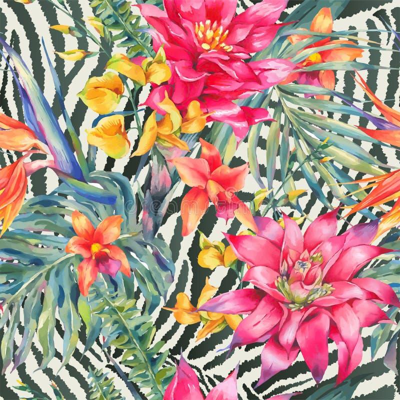 Wektorowego rocznika kwiecisty tropikalny bezszwowy wzór royalty ilustracja
