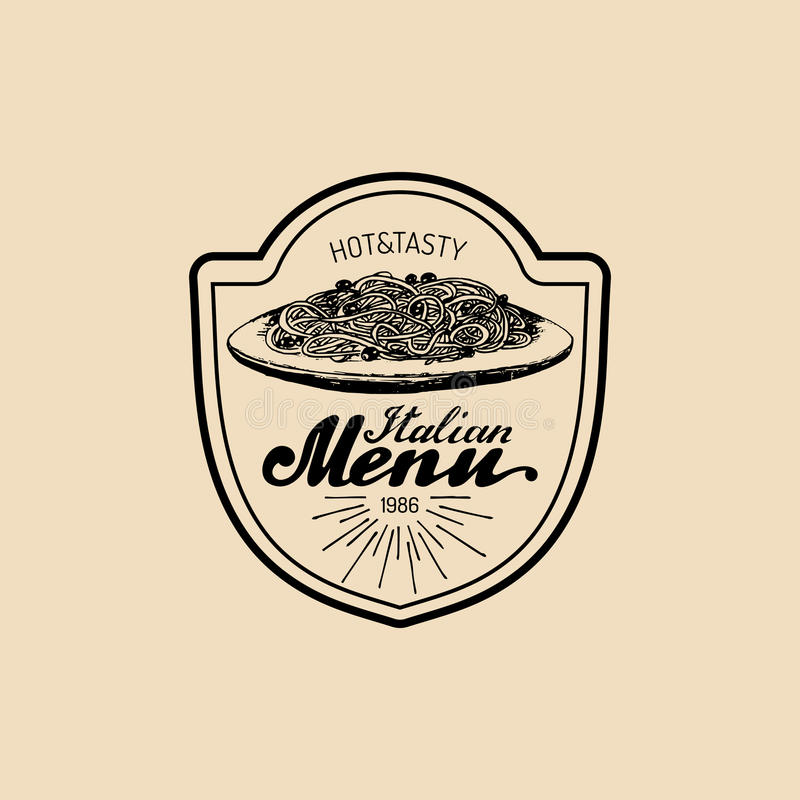 Wektorowego rocznika modnisia włoski karmowy logo Nowożytny makaronu znak, ikona lub Ręka rysująca śródziemnomorska kuchni ilustr ilustracji
