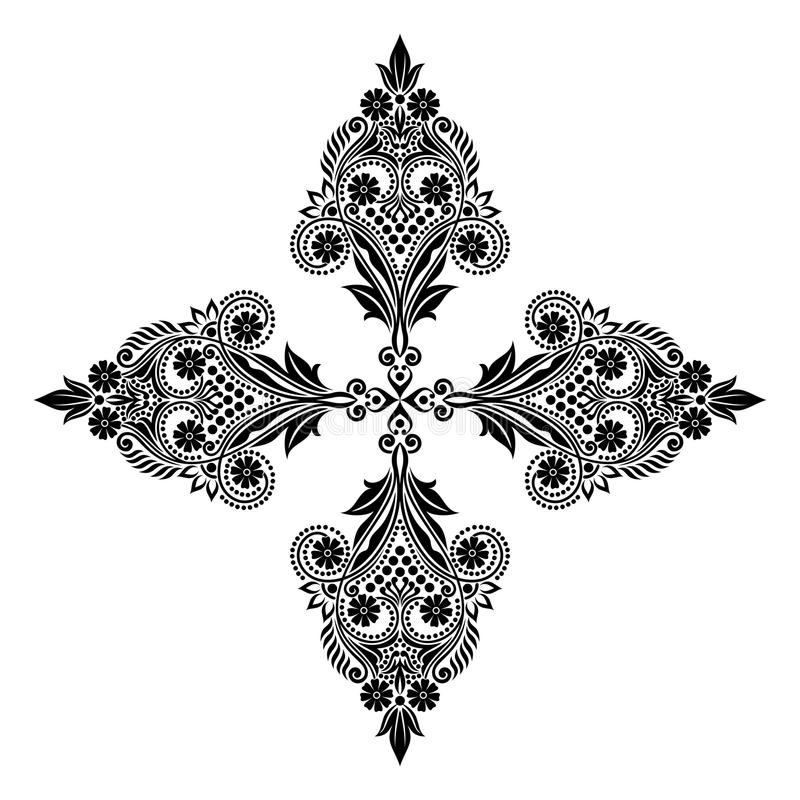 Wektorowego rocznika Piękni monochromatyczni czarny i biały kwiaty i liście odizolowywający royalty ilustracja