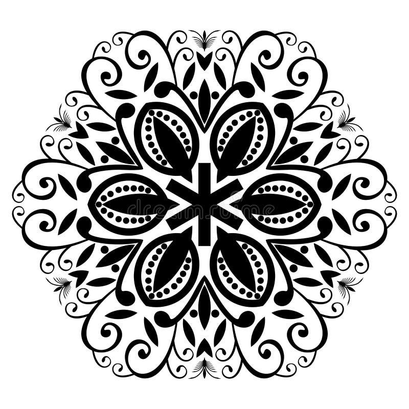 Wektorowego rocznika piękny monochromatyczny czarny i biały mandala royalty ilustracja