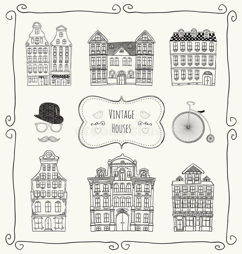 Wektorowego rocznika Starzy Projektujący domy ilustracji