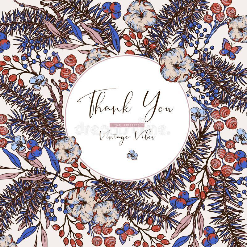 Wektorowego rocznika wiosny kwiecista kartka z pozdrowieniami z jod?? rozga??zia si?, bawe?na, kwiaty i motyle, royalty ilustracja