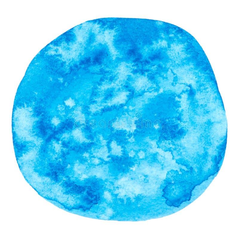 Wektorowego round akwareli farby błękitna tekstura odizolowywająca na bielu ilustracji