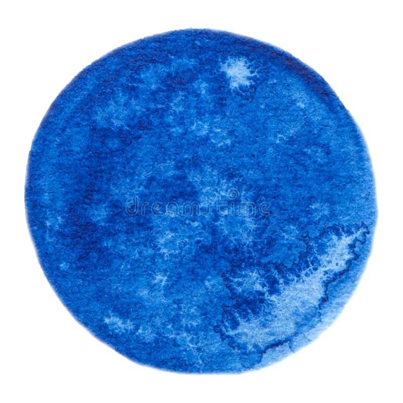 Wektorowego round akwareli farby błękitna tekstura odizolowywająca na bielu dla Twój projekta ilustracja wektor