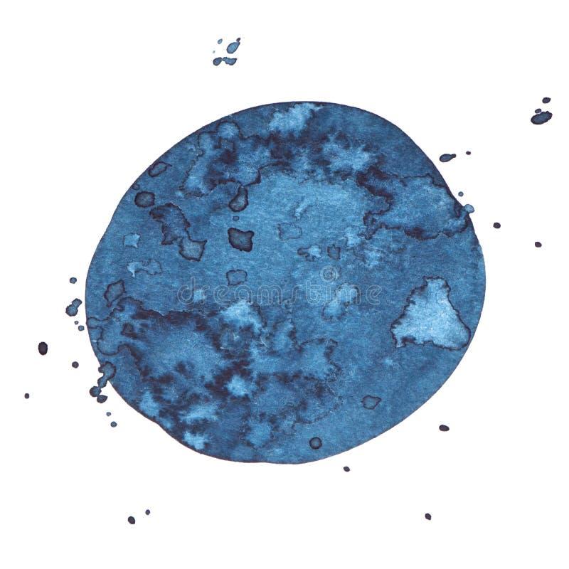 Wektorowego round akwareli farby indygowa tekstura odizolowywająca na bielu dla Twój projekta ilustracja wektor
