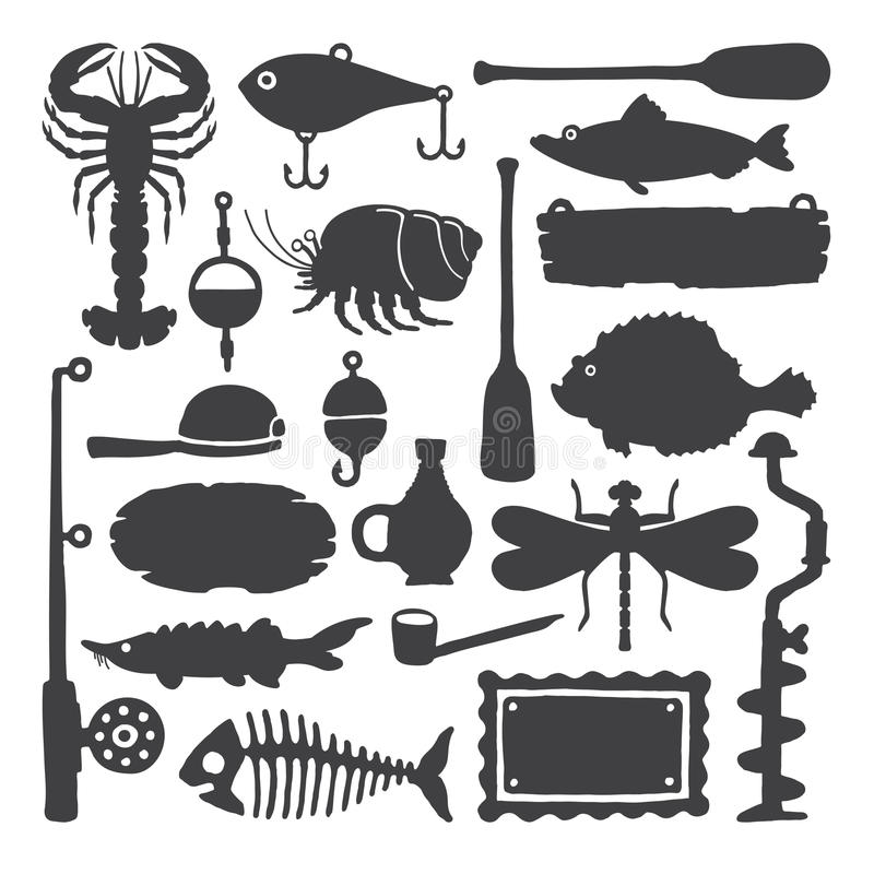 Wektorowego rybaka monochromatyczni handdrawn przedmioty & rzeczy ustawiający ilustracja wektor
