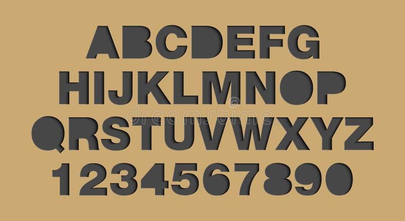 Wektorowego rzemiosło papieru rżnięty czerń kształtuje chrzcielnicy Papierowy sztuka stylu abecadło i liczby, typografii abc list ilustracja wektor