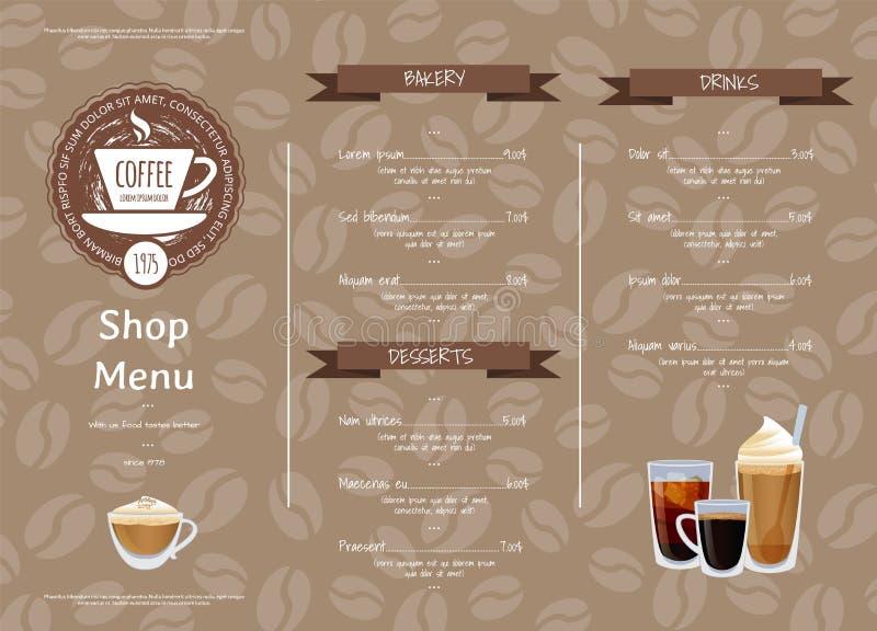 Wektorowego sklep z kawą menu horyzontalny szablon royalty ilustracja