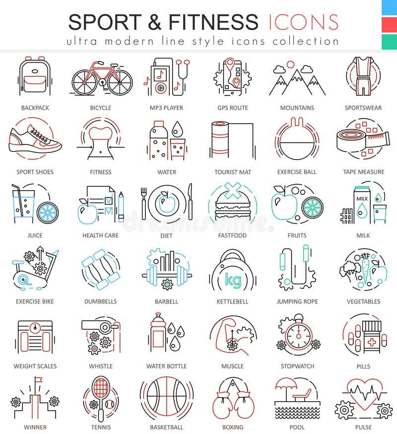 Wektorowego sporta, sprawności fizycznej koloru konturu linii ultra nowożytne ikony dla i royalty ilustracja
