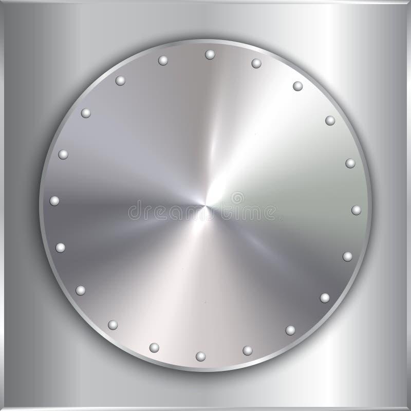 Wektorowego stalowego metalu round złoty talerz z nitami royalty ilustracja