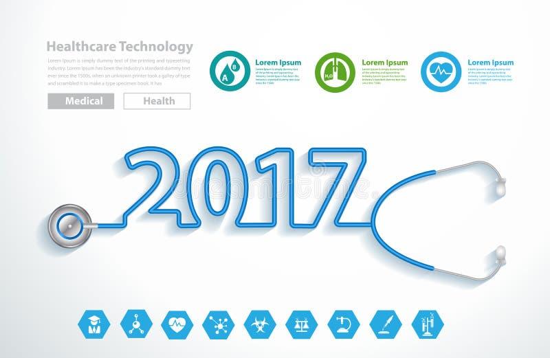 Wektorowego stetoskopu projekta kierowy kreatywnie nowy rok 2017 royalty ilustracja