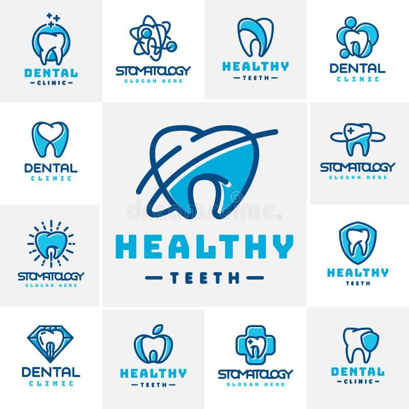 Wektorowego stomatologicznego etykietki ochrony szablonu stomatology ilustracyjnego abstrakcjonistycznego usta graficzny oralny e ilustracja wektor