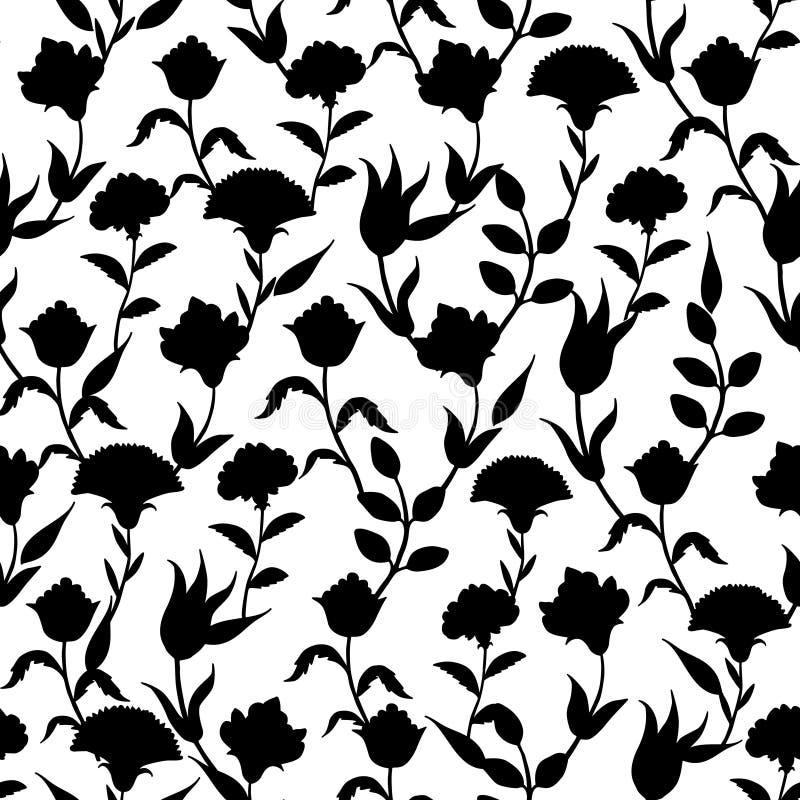 Wektorowego sylwetki czerni turecczyzny Biali kwiaty royalty ilustracja