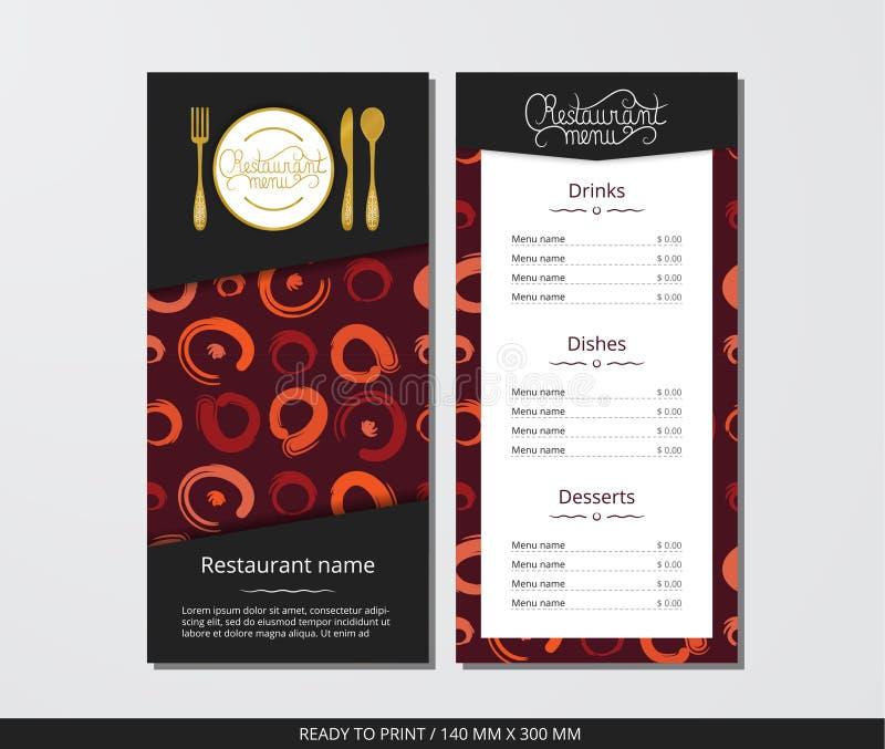 Wektorowego szablonu restauracyjny menu z złocistym cutlery i dziwacznym okręgu wzorem royalty ilustracja