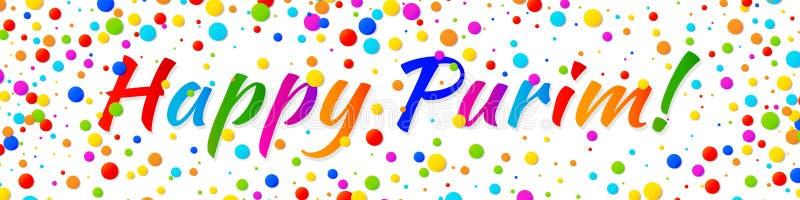 Wektorowego sztandaru Purim Szczęśliwy karnawałowy tekst z kolorowych tęcza kolorów confetti papierową ramą na białym tle royalty ilustracja
