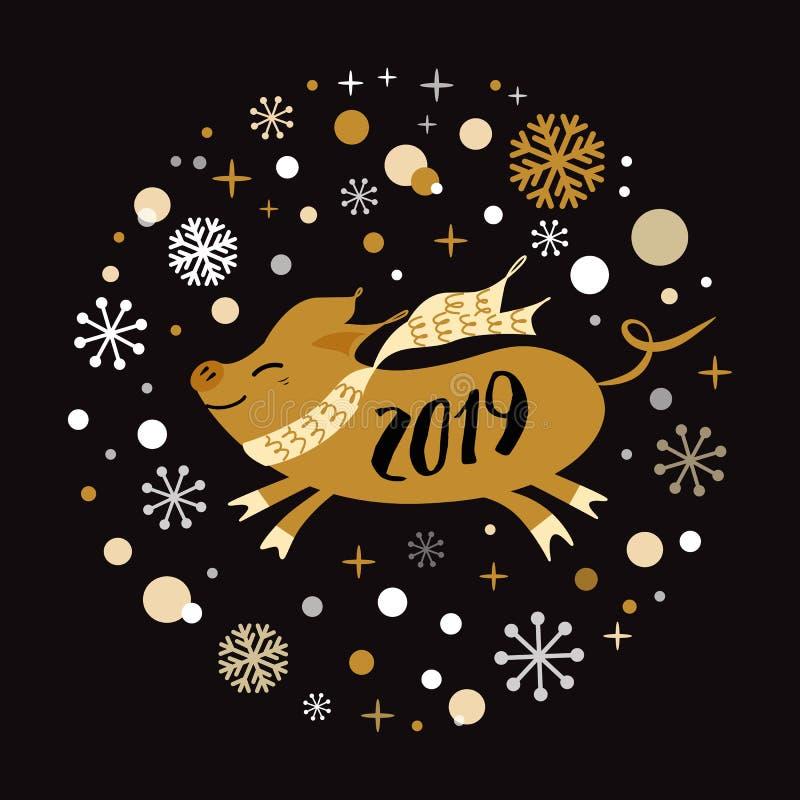 Wektorowego sztandaru 2019 Wesoło bożych narodzeń nowego roku Szczęśliwego złotego świniowatego kształta płatek śniegu etykietki  ilustracji