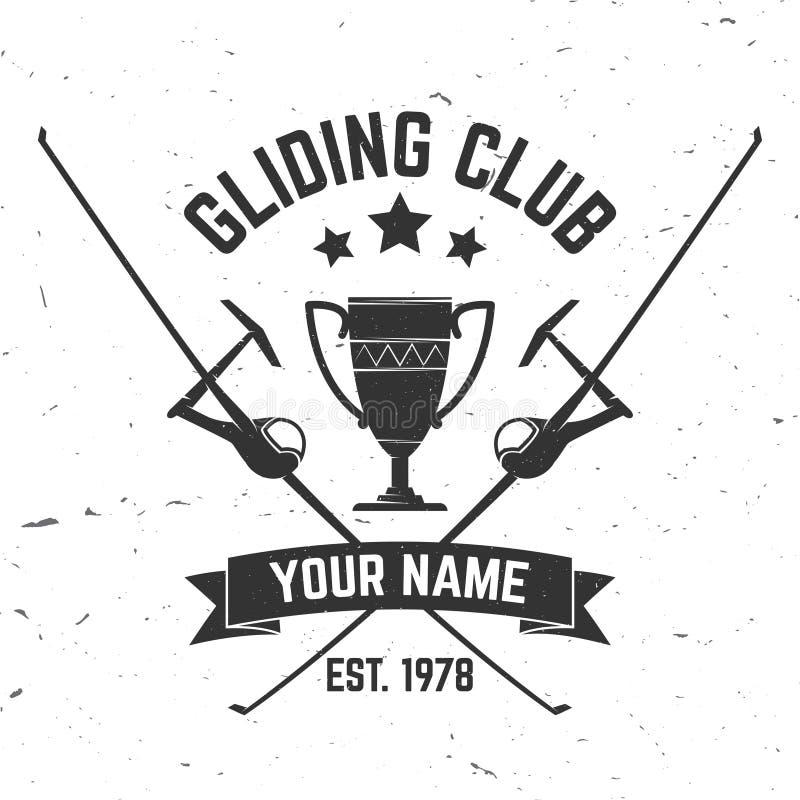 Wektorowego szybownictwo klubu retro odznaka ilustracja wektor