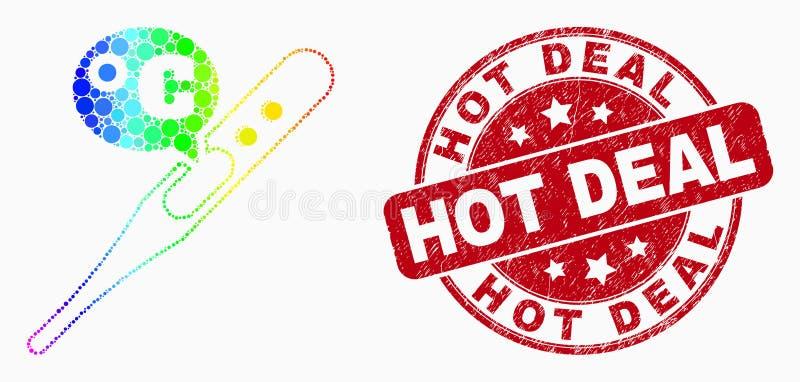 Wektorowego tęcza Barwionego piksla termometru Celsius ikona i Grunge Gorący Dylowy Watermark ilustracji