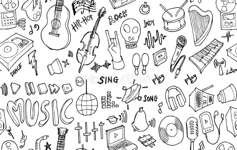 Wektorowego tła Bezszwowy wzór z ręka rysującym Muzycznym doodle royalty ilustracja