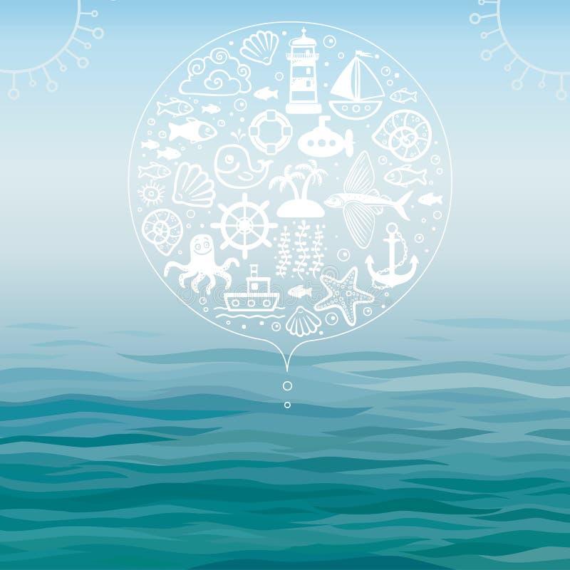 Wektorowego tła wodni i denni symbole royalty ilustracja