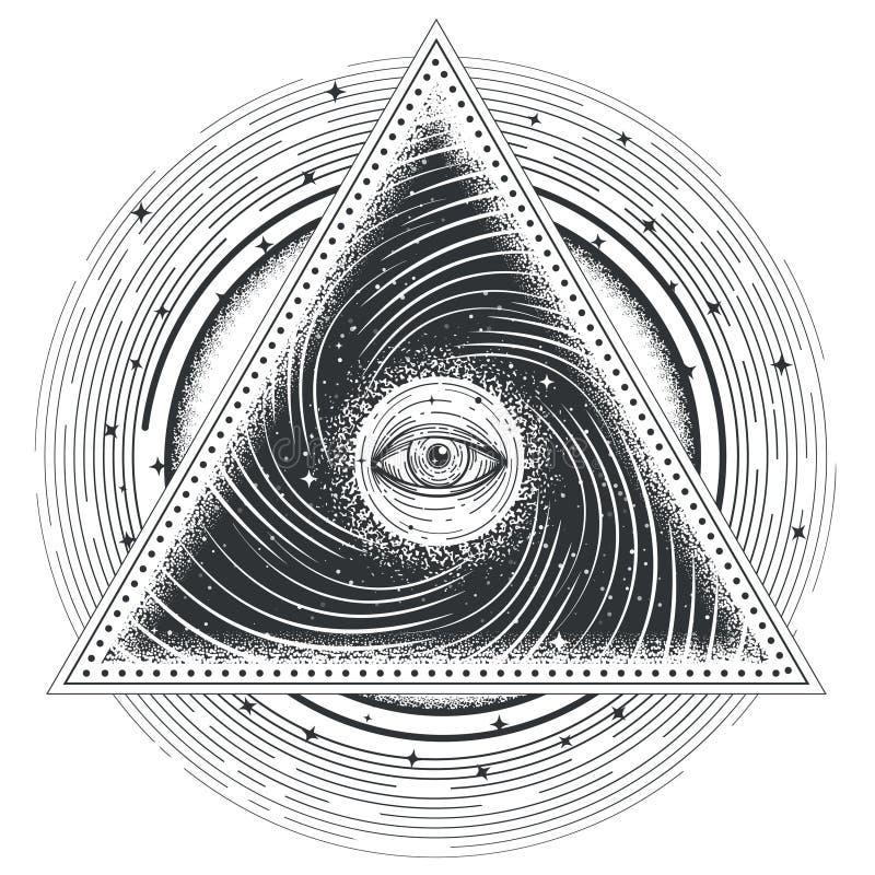 Wektorowego tatuażu ilustracyjna abstrakcjonistyczna święta geometria z wszystkowidzącym okiem ilustracji