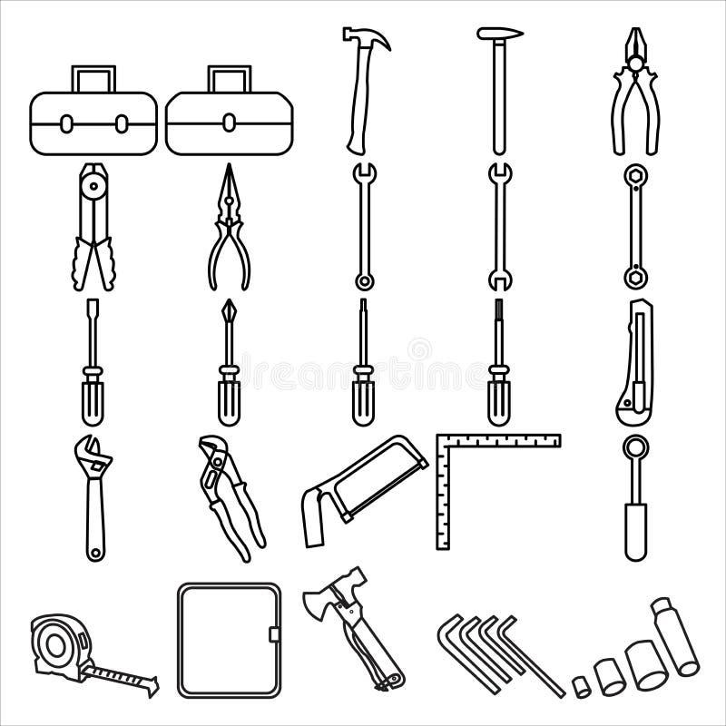 Wektorowego Toolkit ikony Ustalonego projekta Kreskowy styl ilustracji