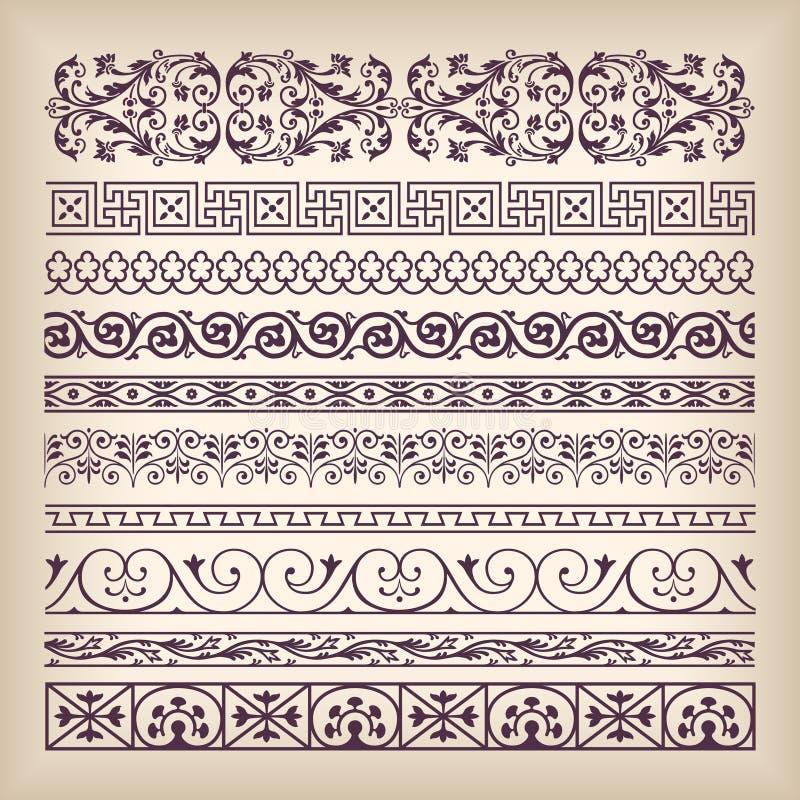 Wektorowego ustalonego rocznika granicy ozdobna rama z retro ornamentu patte ilustracja wektor