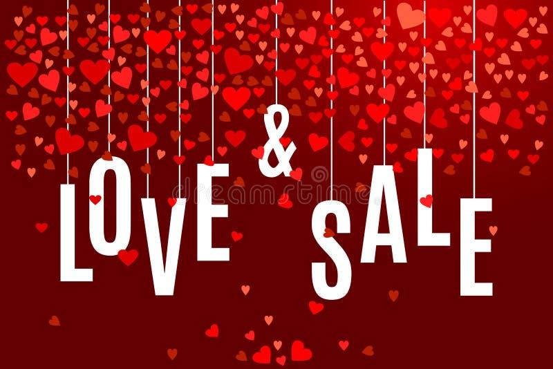 Wektorowego walentynki ` s dnia sprzedaży i miłości sztandaru szablon z czerwonymi sercami na ciemnym wina tle ilustracja wektor